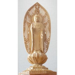 仏像 浄土宗 ご本尊 舟弥陀 柘植 八角台座 水煙光背 3.0寸|kumano-butu