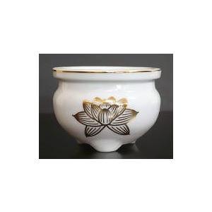 机上香炉 陶器製 白 上金蓮 3.0寸|kumano-butu