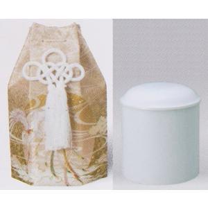 骨壷 骨カメ 白上骨カメ 特上六角骨袋セット 2.0寸 茶|kumano-butu