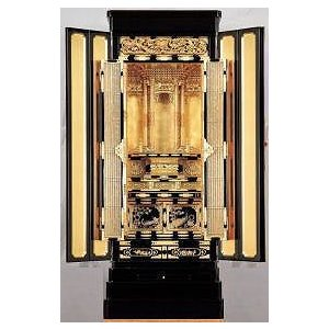 仏壇 金仏壇 彫粉 西 和彩18号 仏壇と同時購入で真宗専用仏具半額ご奉仕|kumano-butu