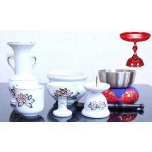 陶器製 仏具セット 白 上金蓮 小|kumano-butu