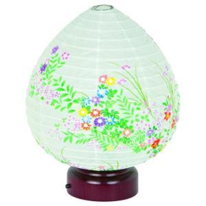 盆提灯 モダン提灯 天然木 紙張 結花 小花ちらし LED電池|kumano-butu