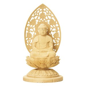仏像 ご本尊 座釈迦如来 唐草光背 総白木 1.5寸|kumano-butu