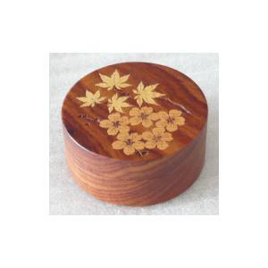香合 香道具 お香 焼香 杢象嵌入り 切立香合 桜紅葉 直径5.5cm|kumano-butu