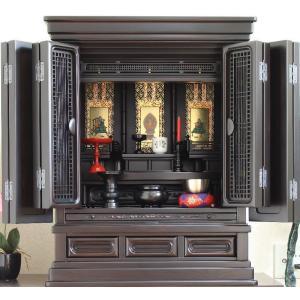 仏壇 三方練小型仏壇 黒檀 寿楽25号 満点レビューで仏具|kumano-butu