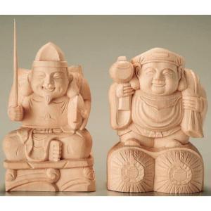 仏像 恵比寿・大黒天 総白木10寸|kumano-butu
