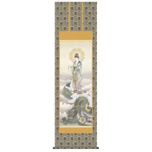 掛け軸 床軸 龍上観音 金襴佛表装・尺五 表装品質十年間保障付 純国産|kumano-butu