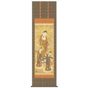 掛け軸 床軸 阿弥陀三尊佛 金襴本佛表装・尺五 表装品質十年間保障付 純国産|kumano-butu