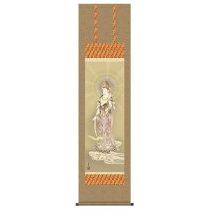掛け軸 床軸 雲上観音 洛彩緞子佛表装・尺三 純国産|kumano-butu