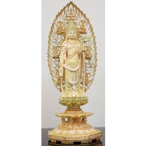 仏像 切りがね淡彩色 聖観音様 総柘植八角台 天人光背5.0寸|kumano-butu