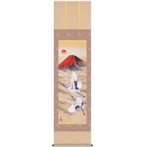 床軸 掛け軸 開運 縁起画 厄除図 尺三 洛彩緞子本表装 赤富士飛翔|kumano-butu