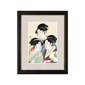 浮世絵額縁 寛政の三美人 大 純国産 木製額・アクリルカバー仕様|kumano-butu