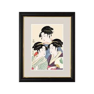 浮世絵額縁 寛政の三美人 小 純国産 木製額・アクリルカバー仕様|kumano-butu