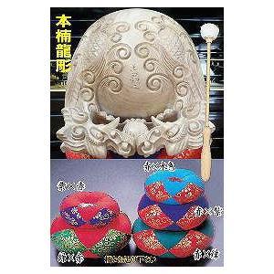木魚セット 本楠龍彫り5.5寸|kumano-butu