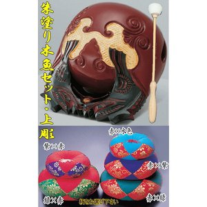 木魚セット 朱塗り上彫 4.5寸|kumano-butu