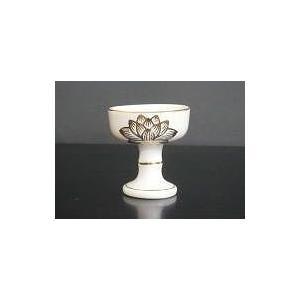 仏器 陶器製 白 上金蓮 中|kumano-butu