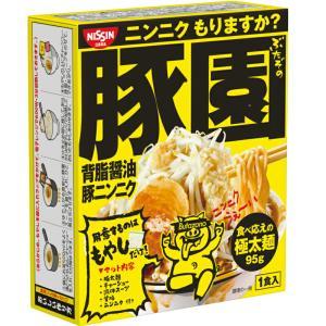 日清 豚園 背油醤油にんにくラーメン 即席めん 164g×16個(8個×2箱)|kumano-nakatani