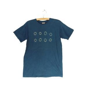 番茶染め【半袖】Tシャツ(御浜小石絞り/銅媒染×藍染め)|kumano-t