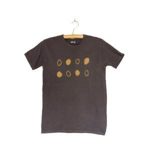 番茶染め【半袖】Tシャツ(御浜小石絞り/銅媒染×ログウッド染め)|kumano-t