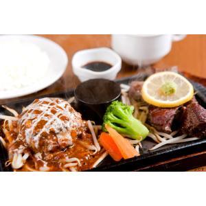 【綱島】国産牛ステーキ・国産牛霜降りハンバーグ(計225g)☆ライス・スープ付!