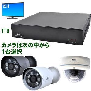 PoE録画装置(4ch) PoE 511万画素カメラ1台セット HDD 1TB 20.7型液晶モニター kumazou2
