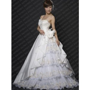 442984a065200 wdk416 人気のワンショルダープリンセスラインウエディングドレス