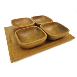 小鉢セット 4点  木製 アジアン雑貨   【エスニック 小皿 食器】 kunikichisyouten