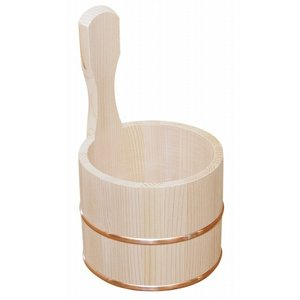 (入荷待ち)日本製 昔ながらの木製湯桶 片手 (国産さわら/銅タガ)     【椹 天然木 湯おけ ゆおけ 片手桶 風呂桶】 kunikichisyouten