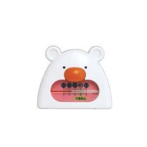 【シンワ測定】 風呂用温度計 B-9 くまさん ホワイト&ピンク 73052|kunimotohamono
