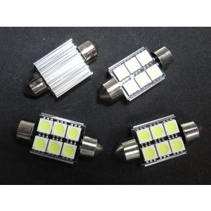 LED T10 36mm 10個入り ヒートシンク CAN-BUS対応品 6SMD 5050 白|kura-parts