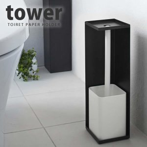 トイレットペーパーホルダー tower(タワー) ブラック[山崎実業]【ポイント5倍】 kurashi-arl