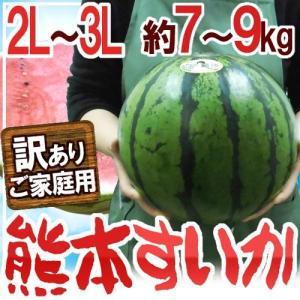 """【送料無料】熊本県産 """"熊本すいか"""" 訳あり 大玉 2L〜3..."""