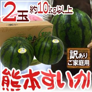 """【送料無料】熊本県 """"熊本すいか"""" 訳あり 約5kg以上×2..."""