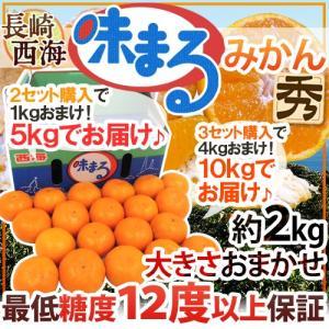 """【送料無料】長崎産 西海 """"味まるみかん"""" 秀品 大きさおまかせ 約2kg 2セット購入で1kgおまけ 3セット購入で4kgおまけ 最低糖度12度保証【予約 11月下旬以降】"""