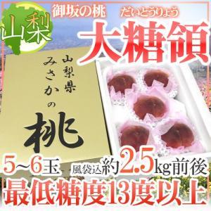 """山梨県 最高峰桃 """"大糖領"""" 5〜6玉入り 約2.5kg(風..."""