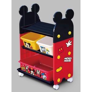 錦化成 トイ・ステーション ミッキーマウス R-fri 【日本製 幅50×奥行32.5×高さ74cm おもちゃ箱 キャスター付き】|kurashiichibankan