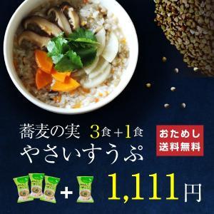 ダイエットに食べるだけ蕎麦の実スープ 3+1袋セット フリー...