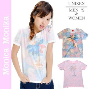 花柄シャツ Tシャツ 半袖 ヤシの木柄 派手Tシャツ 大きいサイズ レディース 花柄 シャツ プリントtシャツ kurashikan