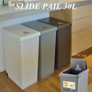 スライド式 ゴミ箱 30L 角型 日本製 大容量 屋内 ふた付き 蓋付き キャスタ付き プラスチック ダストボックス おしゃれ インテリア 置物|kurashikan