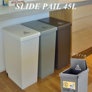 スライド式 ゴミ箱 45L 角型 日本製 大容量 屋内 屋外 ふた付き 蓋付き キャスタ付き プラスチック ダストボックス おしゃれ インテリア 置物|kurashikan