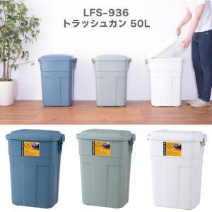 ゴミ箱 ごみ箱 ダストボックス トラッシュカン 50L 大容量 分別 頑丈 キッチン リビング 屋外 おしゃれ デザイン 日本製 LFS-936LFS-936GR|kurashikan