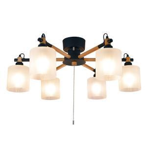 シーリングライト LED対応 6灯 ウッド ペンダントライト シェード リビング ダイニング ブラック 寝室 北欧 インテリア照明 (メーカー直送、代金引き不可)|kurashikan