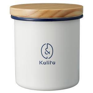 &カリタ キャニスター 丸型 ウッド ホーロー kalita カリタ  コーヒー 珈琲 密封 容器 保存容器 おしゃれ シンプル|kurashikan