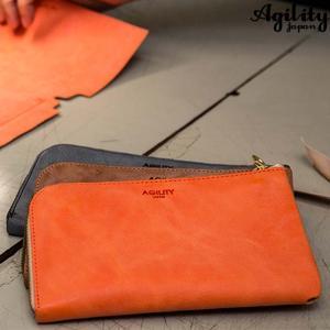 AGILITY affa 日本製 スマホが入る財布 財布 iPhone8Plus スマホ 財布 長財布 日本製 メンズ レディース L字ファスナー 牛革 シンプル ミニ クラッチ|kurashikan