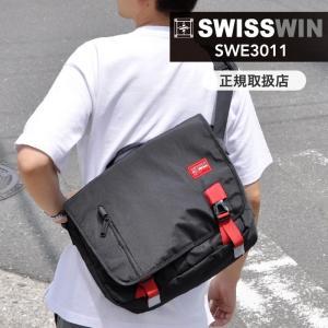 SWISSWIN  メッセンジャーバッグ 防水 大容量 ショルダーバッグ  斜めがけバッグ 通勤 メンズ ブラック スポーツ アウトドア ブランド|kurashikan