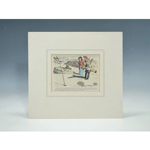 エングレービング 手彩色 版画 ゴルフ 推定1930年代