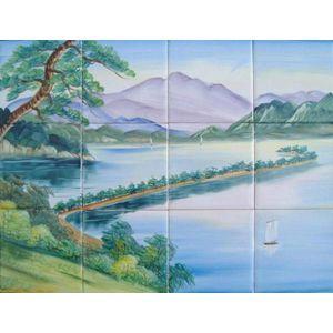 昔 銭湯で見かけた天の橋立の絵タイル 12枚組