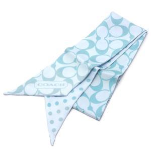 【送料無料】コーチ COACH ツイリー スカーフ ブルー系 水玉 シグネチャー シルク100%【0G0002】|kurata7