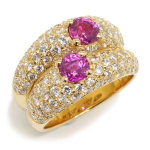 【送料無料】ヴァンクリーフ&アーペル Van Cleef & Arpels VCA ピンクサファイアダイヤモンドリング #12.5 約12.5号 750YG 指輪 美品【1B0081】|kurata7