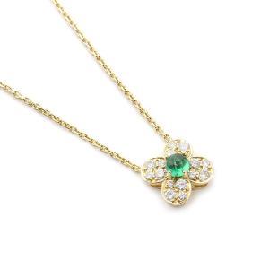 【送料無料】ヴァンクリーフ&アーペル トレフルネックレス 750YG・エメラルド0.39ct・ダイヤモンド0.38ct 四つ葉 【7B1079】|kurata7